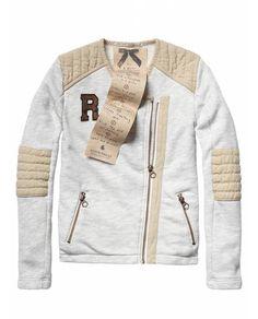 Biker sweat jacket with woven details - Jackets - Official Scotch & Soda Online Fashion & Apparel Shops