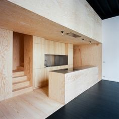 Wallonie-Bruxelles Architectures: a loft / a practice Plywood Interior, Arch Interior, Interior Architecture, Small Apartments, Small Spaces, Küchen Design, House Design, Casa Milano, Plywood Kitchen