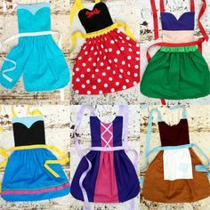 Set of 6. Your Choice of Disney inspired Princess APRONS. Fits sizes 12-24 mo, 2t, 3t, 4, 5, 6, 7, 8, 9, 10, 12. Dress up. Toddler Baby Girl...