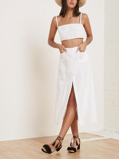 Loving this all white matching set from Reformation.