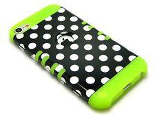 iPod Touch 5th 5G Gen Hybrid Rocker Heavy Duty White Dots Case+Lime Green Skin
