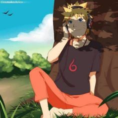 Naruto listenign to music.