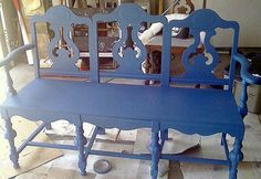 love the idea of making benches from repurposed dining  chairs