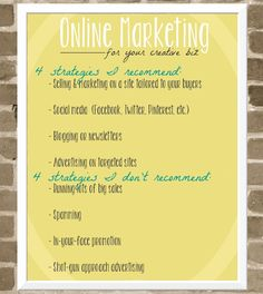 Online marketing tips for your creative biz