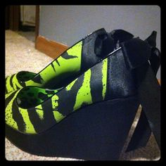 Iron fist black and green zebra wedges I bought these off eBay and they're still too big for my feet :(  I've worn them twice and have had them on display since then. Thinking its time they go to a new home Shoes