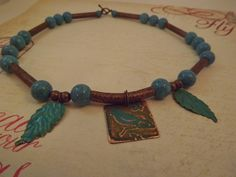 'Copper and Turquoise Bird Pendant Necklace' is going up for auction at 10am Fri, Apr 5 with a starting bid of $6.