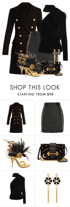 """Black & Gold Prada Shoes & Bag"" by majezy ❤ liked on Polyvore featuring Balmain, Prada, Gareth Pugh and Henri Bendel"