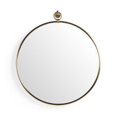 "Thomas 34.75"" Brass Round Mirror With Hook"