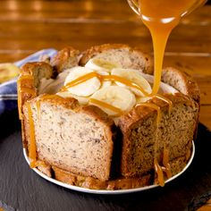 Before you scarf down that loaf of banana bread, consider giving it another life as the most delicio Banana Cheesecake Bread, Make Banana Bread, Easy Cheesecake Recipes, Banana Bread Recipes, Just Desserts, Delicious Desserts, Yummy Food, Food Cakes, Cupcake Cakes