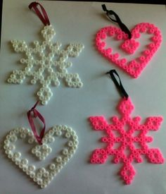 Heart White & Pink Christmas tree ornaments decorations - hama beads - handmade