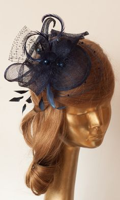 Navy Blue Sinamay BRIDAL FASCINATOR with VEIL and Ostrich Feathers.