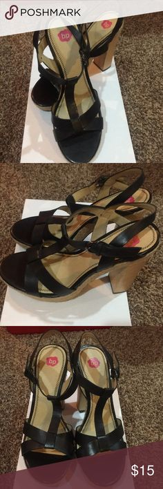 bp Black Sandals Size 8.5 Hardly used pair of black high heeled sandals for the summer. Lovely with skinny jeans! Size 8.5.   10 % discount with bundled items. bp Shoes Sandals