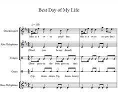 "Orff arrangement for ""Best Day of My Life""!"
