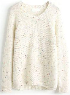 White Long Sleeve Diamond Patterned Loose Sweater - Sheinside.com