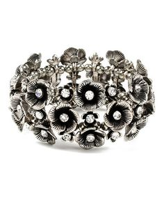 Look what I found on #zulily! Antique Silver Eliza Floral Stretch Bracelet by Amrita Singh #zulilyfinds