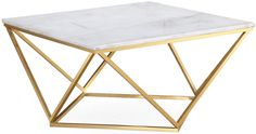 Modern with an organic twist this eye-catching design shows off an elevated white marble top elegantly anchored to a gleaming gold steel base. Brimming with luxury and refinement this cocktail table is sure to be a standout piece.