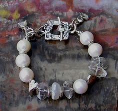 Artisan Jewelry Freshwater Pearl Herkimer Diamond by ljmoreau
