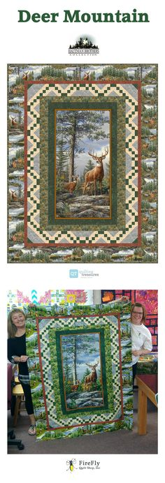 Awesome Deer Mountain free quilt pattern! This stunning quilt uses our Deer Mountain fabric collection featuring beautiful artwork by the Hautman Brothers. This panel quilt was designed by Cyndi Hershey for Quilting Treasures. And the below picture features two lovely ladies from the Firefly Quilt Shop in Mankato, MN!!