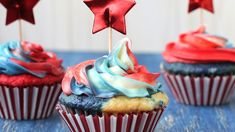 Celebrate the Fourth of July with our red, white and tie-dyed cupcakes made with Betty Crocker SuperMoist white cake, vanilla frosting and food coloring.