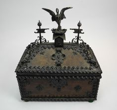 GOTHIC REVIVAL OAK METAL PYX STYLE BOX