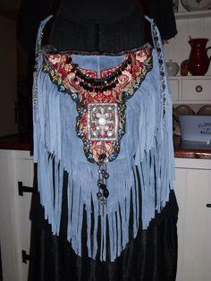 Handmade Blue Suede Leather Vintage Boho Gypsy Hippie Fringe Handbag Purse  | eBay