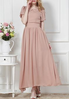 Pink Lapel Short Sleeve Maxi Dress - Sheinside.com