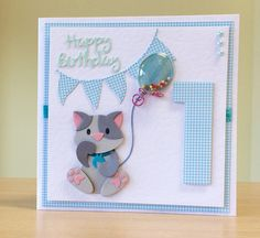 First Birthday Card, Handmade - Marianne cat die. For more of my cards please visit CraftyCardStudio on Etsy.com.