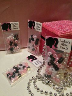 10 & Glam Beads& Kits - Barbie Party Favor with FREE Customization of the Birthday Child& Name! Vintage Barbie Party, Barbie Theme Party, Barbie Birthday Party, 5th Birthday Party Ideas, Birthday Fun, Party Themes, Rock Star Party, Bday Girl, Childrens Parties