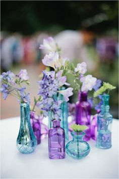 Purple and blue vases