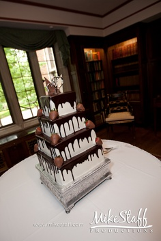 #wedding cake #wedding cake topper #tiered cake #Michigan wedding #Mike Staff Productions #wedding details #wedding photography http://www.mikestaff.com/services/photography #white #chocolate