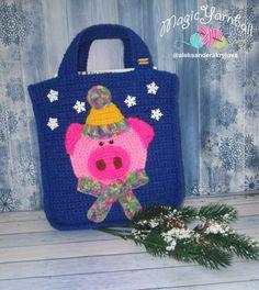 Ravelry: Pig gift bag pattern by Aleksandera Krylova Christmas Bags, Christmas Presents, Drawstring Bag Diy, How To Make Labels, Pink Handbags, Types Of Yarn, Pink Gifts, Stitch Markers, Crochet Hooks