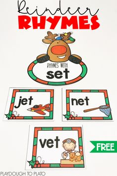 Reindeer Rhymes Looking for a festive rhyming activity? This reindeer sort is a playful way to work on rhyming and CVC words this holiday season. This fun rhyming printable is a perfect center idea for preschool, kindergarten, or first grade. Kindergarten Centers, Preschool Classroom, Kindergarten Activities, Literacy Centers, Literacy Stations, Classroom Projects, Preschool Ideas, Classroom Ideas, Rhyming Activities