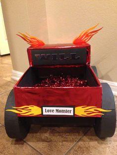 """Back view of """"Love monster"""" monster truck Valentine's box"""