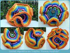 """Crochet Hiperbólico em Trapilho Formas Mutáveis – Fio de Malha=Material Utilizado: Fio de Malha Agulha para Crochê  Aqui está a minha experiência com o Crochet Hiperbólico (Hyperbolic Crochet). Adorei os incontáveis efeitos e formas que podem ser obtidos! Pode-se pendurar e funcionar como um """"Móbile"""" ou colocar sobre uma superfície e funcionar"""
