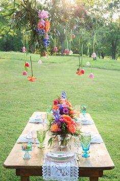 A Fairytale Water Color Wedding Inspiration Pool Party Decorations, Wedding Decorations, Boho Wedding, Wedding Table, Multicolor Wedding, Hanging Flowers, Summer Birthday, Watercolor Wedding, Plan Your Wedding