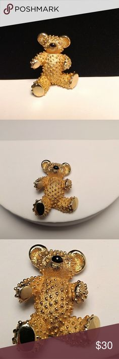 🐨 Vtg. Boucher Bear Brooch Vtg. Boucher Bear Brooch. From Designer Marcel Boucher originally of Cartier, figural teddy bear pin. Topaz colored rhinestone eyes, black enamel painted nose, textured gold-tone body with signature and patent number on back. There are many replicas of this sweet bear brooch. Perfect Vintage Condition. Excellent Vintage Condition. EVC. Vintage Jewelry Brooches