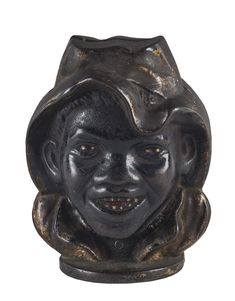 An American double-sided money box, painted cast iron, circa 1900, 11cm high / MAD on Collections - Browse and find over 10,000 categories of collectables from around the world - antiques, stamps, coins, memorabilia, art, bottles, jewellery, furniture, medals, toys and more at madoncollections.com. Free to view - Free to Register - Visit today. #MoneyBanks #MADonCollections #MADonC
