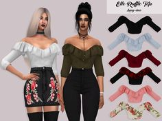 "lumy-sims-cc: "" Elle Ruffle Top • 23 Swatches • HQ Mod Compatible • Custom Catalog Thumbnails • Download on my website """