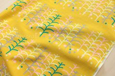 Japanese Fabric  trees  green pink and grey on by MissMatatabi, $6.00