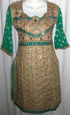 Green Gold Brocade Embroidered Beaded Kurti Kameez Tunic Top #Unbranded #KurtasKurti