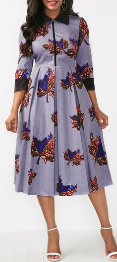 Leaf Print Zipper Front Turndown Collar Dress.