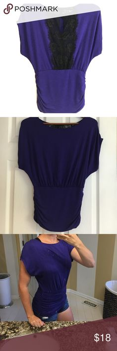 🔴B2G1 FREE!🔴 Express lace keyhole back shirt Adorable purple top fits loose on top and tighter on bottom. Back has black lace with keyhole opening. Only worn once or twice. Great condition! Express Tops Blouses