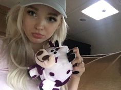 Dove Cameron with fan gifts