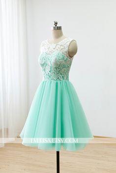 Custom Lace Tulle Bridesmaid dress Prom Dress Mint Green Dress Knee Short Dress by Everisa on Etsy https://www.etsy.com/listing/206858450/custom-lace-tulle-bridesmaid-dress-prom