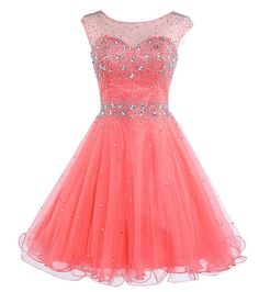 02530dadb Belle House Girls Short Tulle Beading Homecoming Dress Prom Gown HAJ032CR  Quinceanera Dresses Short, Pink