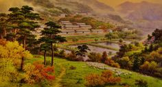 Obra exhibida en la Casa de Creación Mansudae, mayor centro de producción artística de Corea Socialist Realism, Mountains, Nature, Travel, Painting, Korea, The Creation, Centre, Artists