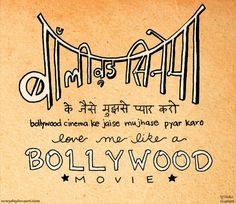 Bollywood Art Indian Art Typography Love Art Hand by nidhi on Etsy, $20.00