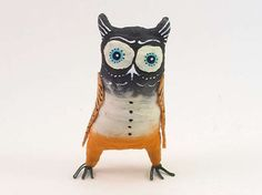 Mad Matthew Vintage Inspired Spun Cotton Owl Figure OOAK (READY To SHIP!) by VintagebyCrystal on Etsy
