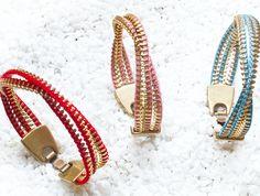Gossip´s Fashion Week: by valera, pulseras de cremalleras Zipper Bracelet, Zipper Jewelry, Leather Jewelry, Bracelet Crafts, Jewelry Crafts, Jewelry Art, Jewelry Bracelets, Zippity Zip, Zipper Flowers