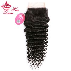 """Queen Hair Products 8""""-20"""" Lace Closure Brazilian Virgin Human Hair Deep Wave Style Natural Off Black DHL Fast Shipping"""